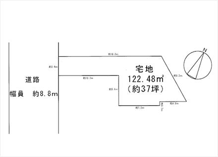滋賀県大津市大将軍3丁目3-21(約37坪) 区画図