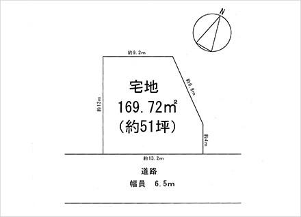 滋賀県草津市上笠2丁目(51.34坪) 区画図