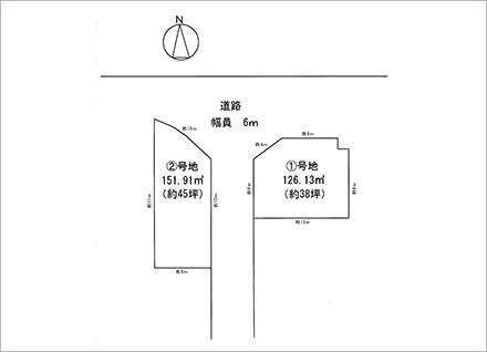 滋賀県大津市千町1丁目 2区画(約38坪〜) 区画図