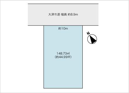 滋賀県大津市大萱5丁目(44.99坪) 区画図