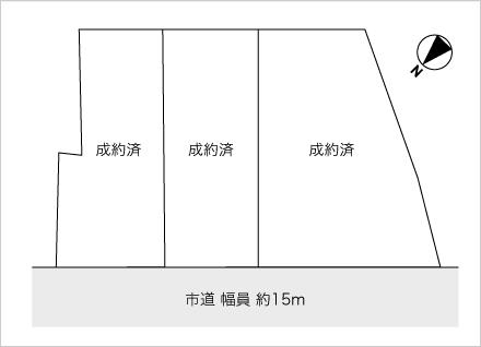 滋賀県栗東市川辺 3区画(約49.9坪〜) 区画図と販売価格