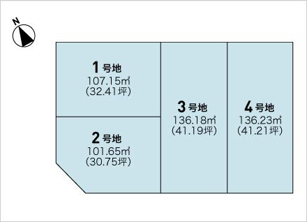 滋賀県大津市本堅田4丁目 4区画(約30.75坪〜) 区画図と販売価格