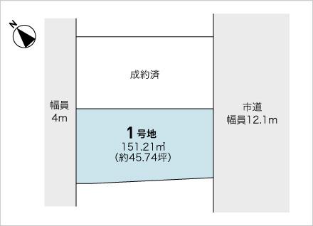 滋賀県野洲市小篠原 2区画(約45.74坪) 区画図と販売価格