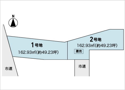 滋賀県大津市大江5丁目 2区画(約49.23坪) 区画図と販売価格