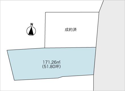 滋賀県野洲市行畑(約51.80坪) 区画図
