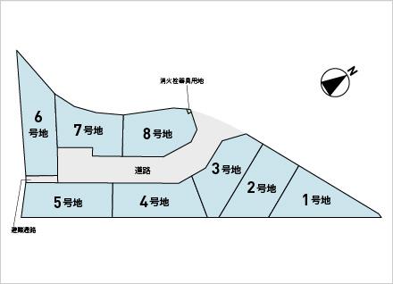 野洲市栄 8区画(約45.47坪〜) 区画図と販売価格