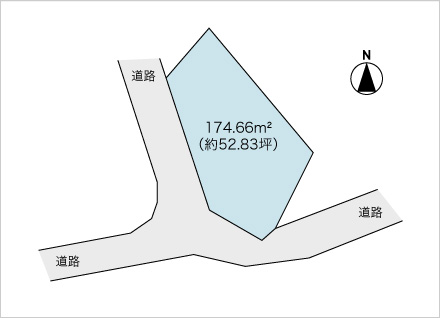滋賀県草津市野路8丁目(約52.83坪) 区画図